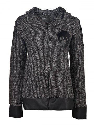 Shop Skull Printed Faux Leather Spliced Zip Up Hoodie For Women DEEP GRAY S