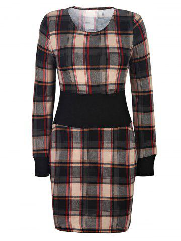 Stylish Scoop Neck Long Sleeve Gingham Slimming Women's Dress
