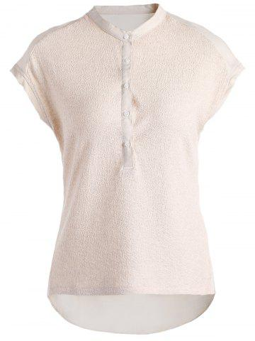 Sale Brief Stand Collar Short Sleeve Back Ruched Solid Color Shirt For Women
