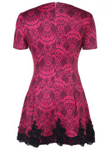 Trendy Color Block Crochet Pattern Lace Dress - M ROSE Mobile