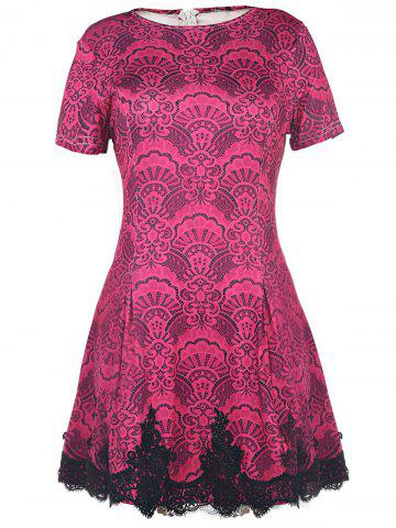 Trendy Color Block Crochet Pattern Lace Dress ROSE XL