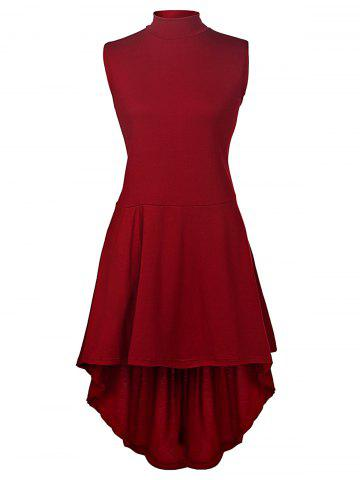 Outfit Charming Stand Collar Sleeveless Solid Color Asymmetric Dress For Women