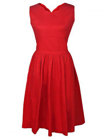 Affordable V-Neck Sleeveless A Line Midi Dress