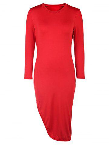 Unique Sexy Round Neck 3/4 Sleeve Solid Color High Slit Women's Dress