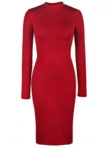 Back Cut Out Bodycon Dress with Long Sleeve - Wine Red - S