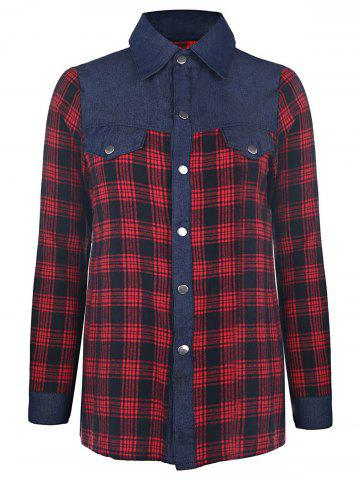 Trendy Shirt Collar Long Sleeve Color Spliced Plaid Shirt For Women - RED M