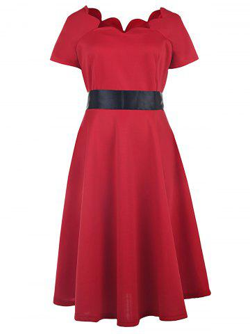 Short Sleeve Prom Ball Gown Dress - Red - 2xl
