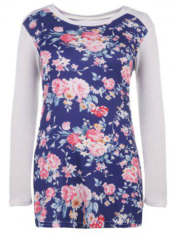 Hot Trendy Scoop Neck Floral Printed Long Sleeve Baseball T-Shirt For Women WHITE S
