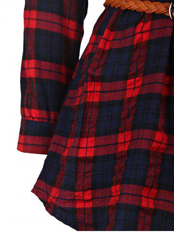 Outfit Plaid Long Sleeve Button Up Shirt Dress - XL RED Mobile