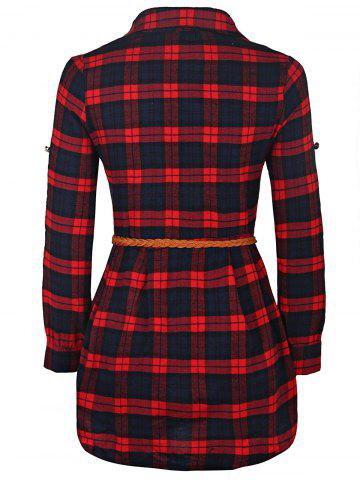 Store Plaid Long Sleeve Button Up Shirt Dress - XL RED Mobile