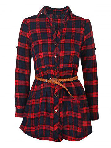 New Plaid Long Sleeve Button Up Shirt Dress - XL RED Mobile