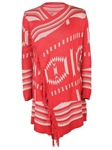 Hot Casual Collarless Printed Tassel Hem Knitted Cardigan For Women RED S