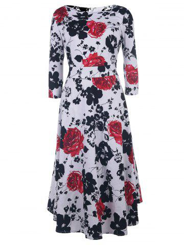 Latest Vintage Style Round Neck 1/2 Sleeve Floral Print Women's Dress