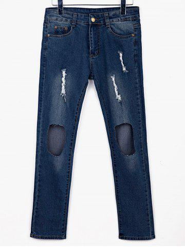 Stylish Mid-Waisted Frayed Broken Hold Design Women's Jeans - BLUE L