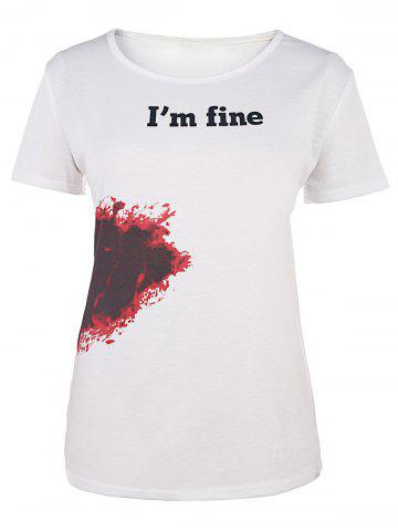 Shops Casual Round Neck Bloodstain Print Short Sleeve T-Shirt For Women