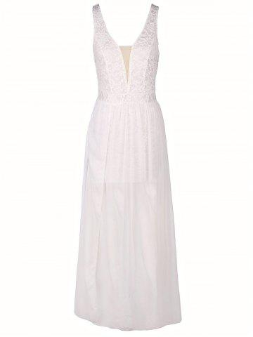 Affordable Low Cut Lace Panel Long Formal Prom Dress