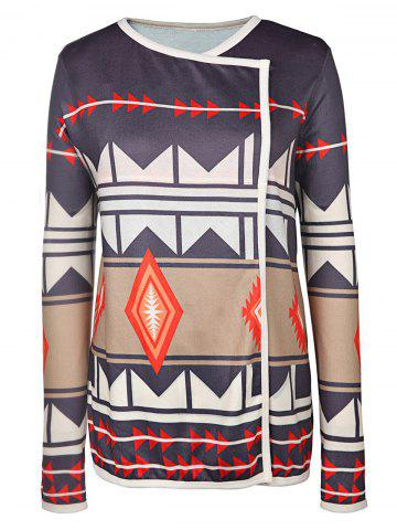 Fashion Trendy Turn-Down Neck Long Sleeve Geometric Pattern Women's Cardigan