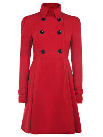 Fancy Fit and Flare Double Breasted Coat RED M