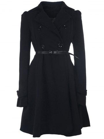 Fit and Flare Double Breasted Coat - BLACK S