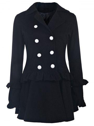 Buy Elegant Turn-Down Collar Long Sleeve Ruffles Double-Breasted Women's Black Coat