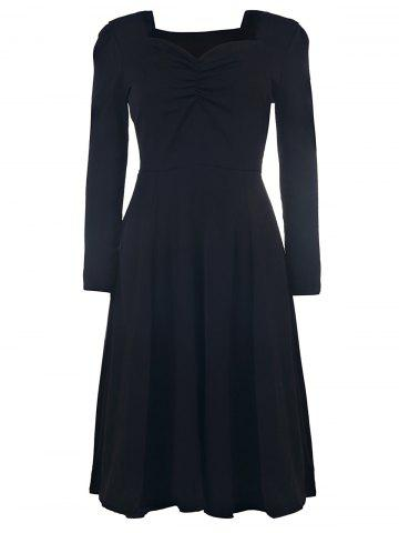 Outfit Elegant Sweetheart Neck Long Sleeve Solid Color Ruched Women's Dress BLACK L