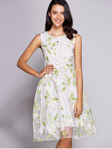 Affordable Graceful Jewel Neck Sleeveless Floral Print Organza Dress For Women