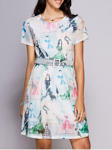 Sale Stylish Round Neck Short Sleeve Printed Belted Dress For Women