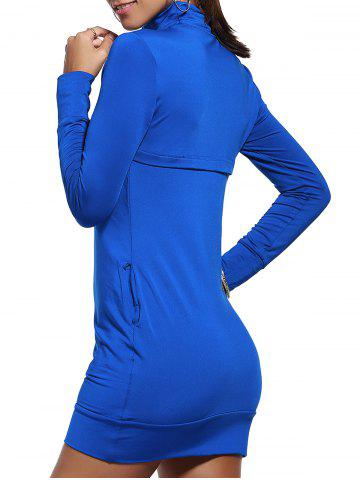 Buy Turtle Neck Long Sleeve Plain Bodycon Dress