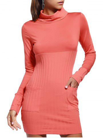 Trendy Marled Turtle Neck Pure Color Long Sleeve Dress For Women - Orange Red - M