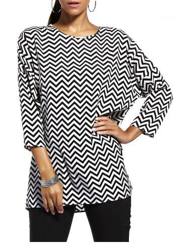 Affordable Chic Jewel Neck Zigzag Stripe 3/4 Sleeve T-Shirt For Women