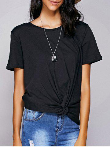 Fashion Casual Round Neck Black Knot T-Shirt For Women BLACK L
