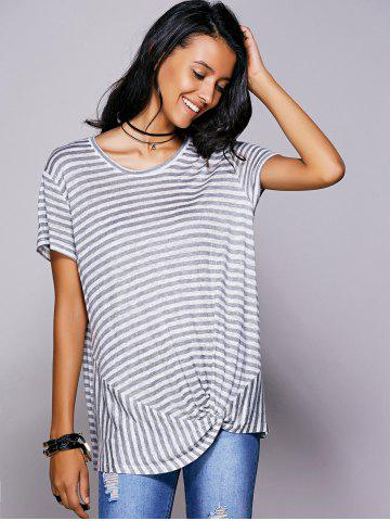 New Casual Scoop Neck Striped Twisted T-Shirt For Women