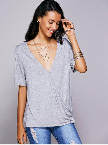 Unique Casual Plunging Neck Solid Color Wrap T-Shirt For Women GRAY L