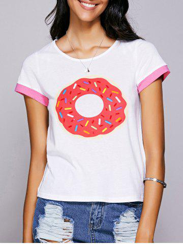 Store Casual Jewel Neck Printed Tee For Women WHITE S