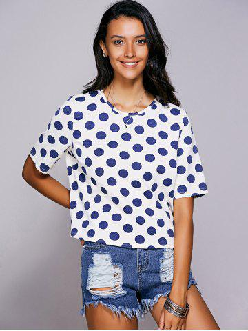 Buy Casual Jewel Neck Polka Dot Short Sleeve Tee For Women BLUE L
