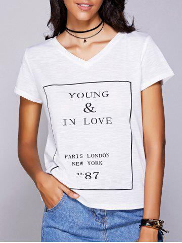 Outfit Casual V-Neck Letter Pattern Short Sleeve Tee For Women
