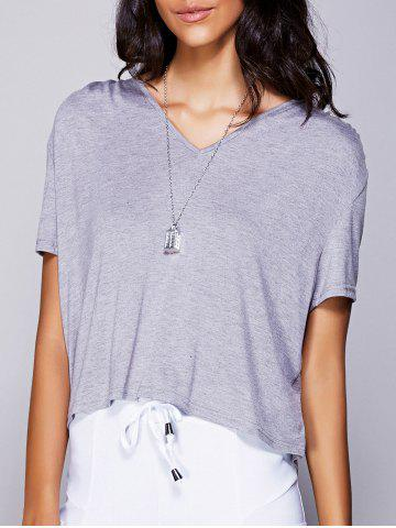 Chic Casual V-Neck High Low T-Shirt For Women GRAY L