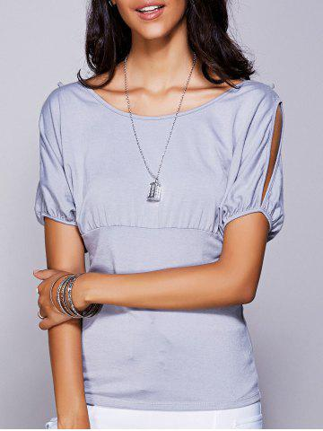 Latest Casual Scoop Neck Cold Shouder T-Shirt For Women - S GRAY Mobile