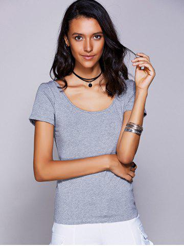 Hot Casual Scoop Neck Cut Out Bowknot T-Shirt For Women - L GRAY Mobile
