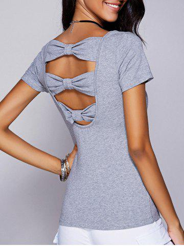 Affordable Casual Scoop Neck Cut Out Bowknot T-Shirt For Women