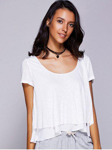 Cheap Casual Scoop Neck Ruffled Tiered T-Shirt For Women WHITE L