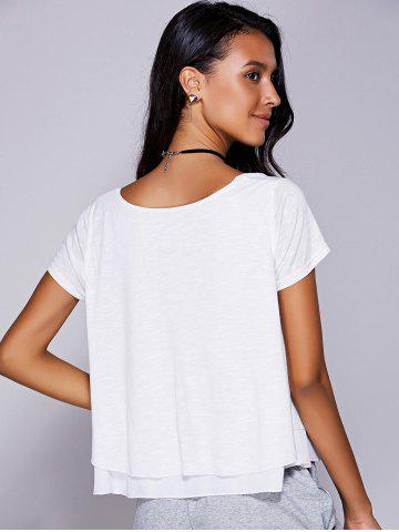 Online Casual Scoop Neck Ruffled Tiered T-Shirt For Women - L WHITE Mobile