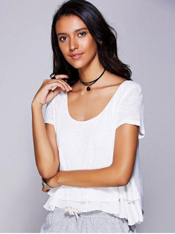 Sale Casual Scoop Neck Ruffled Tiered T-Shirt For Women - L WHITE Mobile