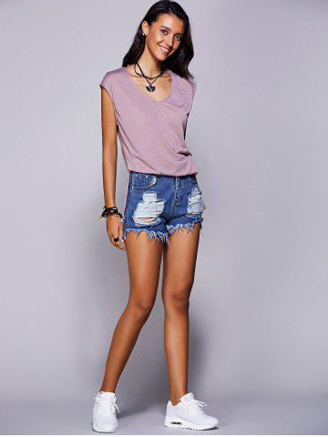 Outfit Casual Scoop Neck Short Sleeve Slit T-Shirt For Women - L LIGHT PURPLE Mobile