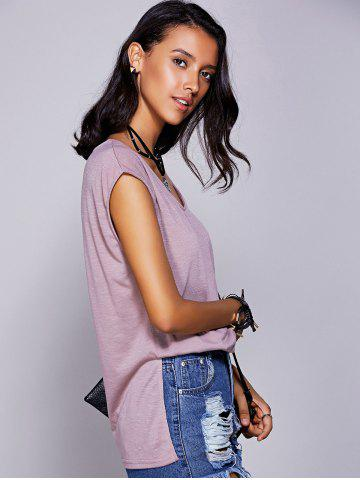 Fashion Casual Scoop Neck Short Sleeve Slit T-Shirt For Women LIGHT PURPLE L