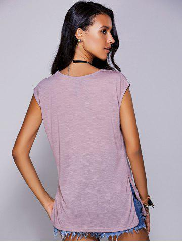 Outfit Casual Scoop Neck Short Sleeve Slit T-Shirt For Women - M LIGHT PURPLE Mobile