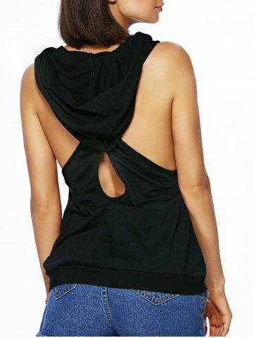 Latest Chic Women's Hooded Sleeveless Pure Color Cut Out Tank Top - M BLACK Mobile
