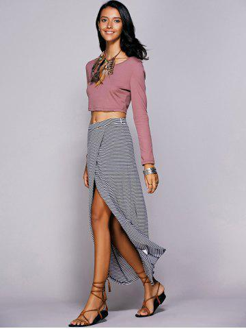 Store Striped Maxi Skirt With High Slit - L BLUE Mobile