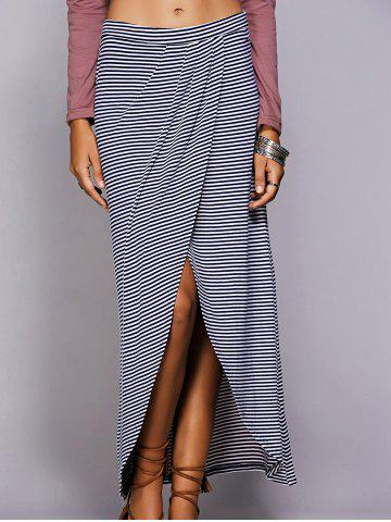 Sale Striped Maxi Skirt With High Slit BLUE L