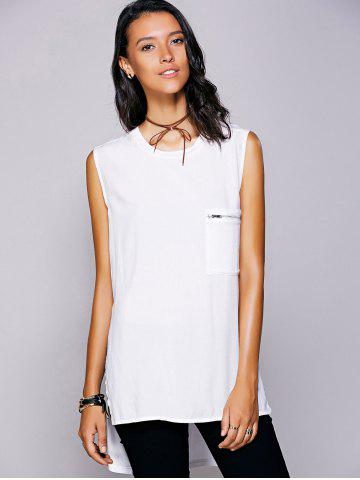 Buy Casual Jewel Neck Slit High Low Top For Women - L WHITE Mobile
